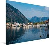 Haven met veel boten in de Baai van Kotor Canvas 60x40 cm - Foto print op Canvas schilderij (Wanddecoratie woonkamer / slaapkamer)