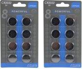 3V CR2032 Powerfull Lithium  Batterijen - 16 stuks