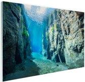 Rotsen onder water Glas 90x60 cm - Foto print op Glas (Plexiglas wanddecoratie)