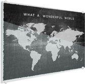 Wereldkaart Vintage Plexiglas voor aan de Muur Zwart groot 120x90 cm