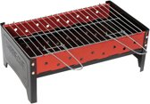 Camp-Gear Compact Houtskoolbarbecue - Zwart/Rood