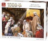 King Puzzel 1000 Stukjes (68 x 49 cm) - Born in Bethlehem - Legpuzzel Kerststal
