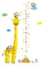 DW4Trading® Groeimeter muursticker giraffe met 3 aapjes