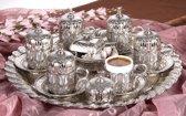 Akmetal - 6 persoons traditioneel Turkse koffieset metaal met porselein (rond)