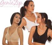 Genie Zip Bra - Set van 3 - Zwart/Wit/Nude - Maat