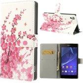 Pink plum Print Wallet Hoesje Sony Xperia Z2