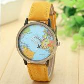 Leukste Koop Horloge met Wereldkaart en Vliegtuig Geel / 7 - 12 Dagen