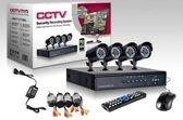 CCTV DVR Kit Beveiligingscamera Plug en Play camerasysteem  - 4 camera's ZWART + 500 GB HARDE SCHIJF