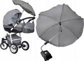Universele Kinderwagen Clip-On Parasol Paraplu - Baby Buggy UV Zonnescherm Regenhoes - Universeel - Donker Grijs