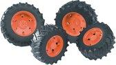 Bruder Tractor Dubbele Banden - Zwart/Oranje