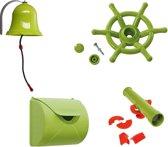 Pakket limoengroen 2, met een brievenbus, een bel, een bootstuur en een telescoop