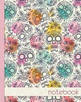 Colourful Sugar Skull Notebook, Notes, Jotter, Journal.