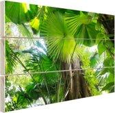 Tropisch regenwoud Hout 80x60 cm - Foto print op Hout (Wanddecoratie)