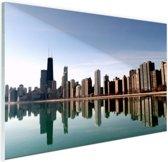 FotoCadeau.nl - Chicago skyline Glas 90x60 cm - Foto print op Glas (Plexiglas wanddecoratie)