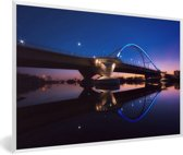 Foto in lijst - De Lowry Avenue Bridge in het Amerikaanse Minneapolis fotolijst wit 60x40 cm - Poster in lijst (Wanddecoratie woonkamer / slaapkamer)