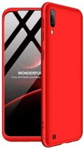 Teleplus Samsung Galaxy A10 360 Moon Hard Rubber Cover Case Red + Nano Screen Protector hoesje