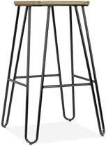 Legend Wire - Metalen kruk - Met houten zitting - Midden 65 cm - Zwart