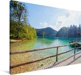 Landschap van het Nationaal park Plitvicemeren Canvas 30x20 cm - klein - Foto print op Canvas schilderij (Wanddecoratie woonkamer / slaapkamer)