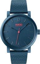 HUGO HU1530116 #RASE - Polshorloge - Leer - Blauw -   Ø 42 mm