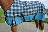 Regendeken luxe 0 gram paardendeken met fleece voering Groene ruit maat 205