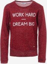"Tiffosi- meisje- sweater ""French"" -maat 104- kleur: rood met gouddraad"