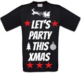 Let's party this christmas T-shirt maat 92 zwart