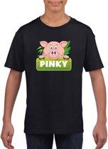 Pinky de big t-shirt zwart voor kinderen - unisex - varkentje shirt L (146-152)