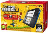 Nintendo 2DS, Console + New Super Mario Bros. 2 (Limited Edition) (Zwart / Blauw)