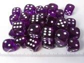 Chessex dobbelstenen set, 36 6-zijdig 12 mm, transparant paars
