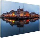Nyhavn in schemering Canvas 30x20 cm - Foto print op Canvas schilderij (Wanddecoratie)