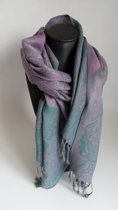 Mooie hippe sjaal van Pashmina in de kleuren paars grijs groen multikleur breedte 70cm lengte 180 cm.