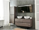 Excellent Wellness Badkamermeubel Type: B, 130 cm, kleur Mocca, inclusief 2x keramiek Waskom, LED-Spiegel en zijkast
