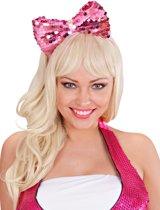 Haarband met roze strik en lovertjes voor volwassenen - Verkleedattribuut