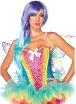 Rainbow korset met pailletten en strik detail multicolours - Kostuum Party - L - Leg Avenue