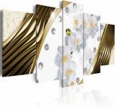 Schilderij - Gouden Orchidee