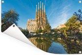 Sagrada Familia op een middag in Barcelona Tuinposter 90x60 cm - Tuindoek / Buitencanvas / Schilderijen voor buiten (tuin decoratie)