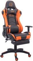Clp TURBO - Bureaustoel - met voetsteun - kunstleer - zwart/oranje