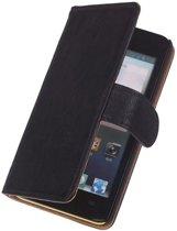 LELYCASE Zwart HTC Desire 500 Lederen Book/Wallet Case/Cover Hoesje