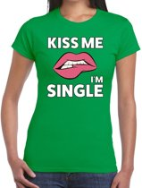 Kiss me i am single t-shirt groen dames - feest shirts dames S
