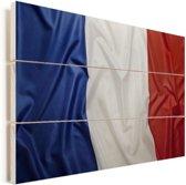 Close-up van de vlag van Frankrijk Vurenhout met planken 90x60 cm - Foto print op Hout (Wanddecoratie)