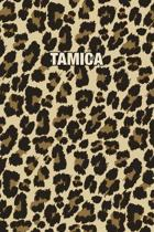 Tamica: Personalized Notebook - Leopard Print (Animal Pattern). Blank College Ruled (Lined) Journal for Notes, Journaling, Dia