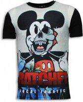 Local Fanatic Ratchet Mickey - Digital Rhinestone T-shirt - Zwart - Maten: S