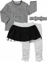 Dirkje Meisjes Set (4delig) Shirt met hartjes, zwart rokje, legging en haarband - Maat 80