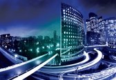Fotobehang City Skyline Night | XXL - 312cm x 219cm | 130g/m2 Vlies