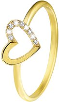 Eve Goldplated Ring Hart - Met Zirkonia - Maat 50