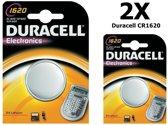 2 Stuks - Duracell CR1620 lithium batterij