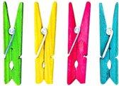 Houten wasknijpers gekleurd 24 stuks