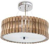 relaxdays Plafondlamp, Hanglamp, Houten design lamp, Melkglas, Natuurhout, Lamp 3 lichten.
