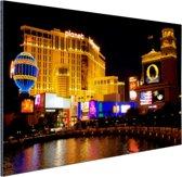 Fraai verlichte gebouwen Las Vegas Aluminium 60x40 cm - Foto print op Aluminium (metaal wanddecoratie)