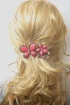 Haarspeld - Groot - Haarclip - Haarsieraad - Haarklem - Haar accessoires - Dames - Bloem - Vlinder - Roze - 11 cm x 5,5 cm - Uniek - Cadeau